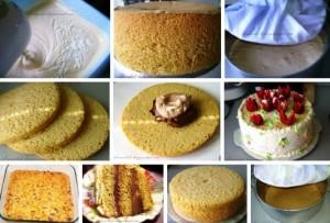 бисквит для торта без духовки фото