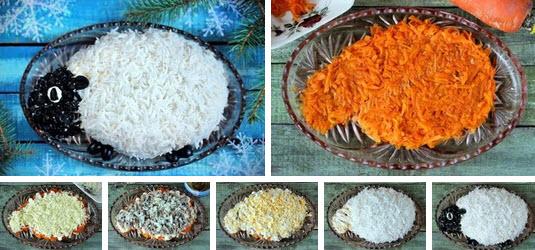 Новогодний слоёный салат «Овечка» фото