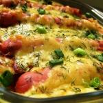 Картофельная запеканка с сосисками и сыром фото