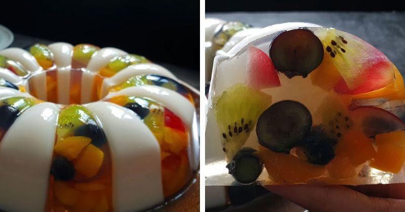 Свежий и летний десерт: красивый фруктовый торт-желе
